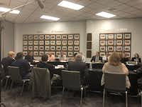 The Grand Prairie ISD school board met in a public workshop on Sept. 25, 2018, to try to upgrade its purchasing policy.(Dave Lieber/Staff photo)
