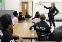 Grand Prairie ISD Superintendent Susan Hull speaks to students.(Brandon Wade/Special Contributor)