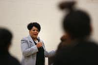 Alice Marie Johnson spoke to girls at the Letot Residential Treatment Center, a Dallas County detention center for female juveniles, in Dallas on Wednesday.(Rose Baca/Staff Photographer)