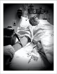 9/19/16 — IV time before port installation procedure. A tad difficult to shoot my ownself so Nancy was pressed into duty.(Nancy Visser/Staff)
