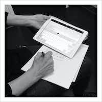 9/22/16 — [My wife] Nancy [Visser] the notetaker.(Guy Reynolds/Staff Photographer)