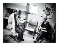 12/12/16 — Meeting Dr. Ajani at M.D. Anderson in Houston for a second opinion about these pesky tumors in my esophagus and liver. My brain is mush so Nancy does the listening and questioning. Good to have The Rock in the room.(Guy Reynolds/Staff Photographer)