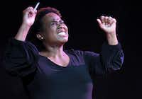 Deontay Roaf plays Nina Simone in <i>The Champion</i> at Bishop Arts Theatre Center.(Robert W. Hart/Special Contributor)