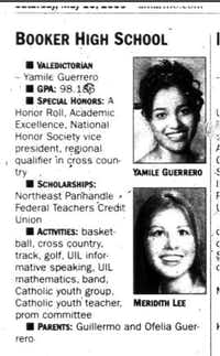 <br>(Courtesy Amarillo Globe-News via Amarillo Public LIbrary/<p>This clip from the Amarillo Globe-News on May 20, 2006, shows that Yamile Guerrero was valedictorian at Booker High School that year.</p>)