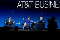 """<p>Deloitte CEO Cathy Engelbert is interviewed by CNN's Anderson Cooper (right) during the AT&T Business Summit.<span style=""""font-size: 1em; background-color: transparent;"""">Thaddeus Arroyo, CEO of AT&T Business, (left) also was on the panel.</span></p>(Nathan Hunsinger/Staff Photographer)"""