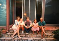 Beto O'Rourke (center) with his family at his boyhood home in central El Paso in undated photo. It was taken before his father, Pat (right) died in 2001. From left: His mother, Melissa; sister, Charlotte, now a hospice care nurse; Beto; sister, Erin; and Pat.(Courtesy of Melissa O'Rourke)