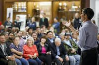 A hallmark of U.S. Rep. Beto O'Rourke's career as a member of El Paso City Council and then Congress has been regular town hall meetings. He has made the gatherings, such as this one at Plano High last November, a staple of his bid to defeat U.S. Sen. Ted Cruz.(Smiley N. Pool/Staff Photographer)