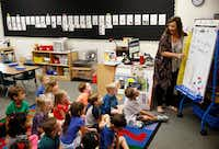Kindergarten teacher Amy Hardesty teaches her class at Fisher Elementary School in Frisco on Sept. 4.(Vernon Bryant/Staff Photographer)