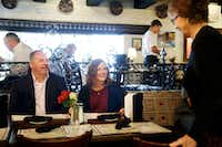 Brent and Amy Hardesty smile as her parents, Patricia and Conrad Herman, arrive for lunch at Legend's in Norman, Okla., on Sept. 16.  (Vernon Bryant/Staff Photographer)