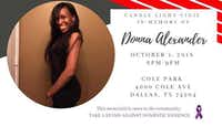 A vigil is planned for 6 p.m. Monday in memory of Donna Alexander at Cole Park in Dallas.(Facebook)