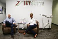 JetSuite CEO Alex Wilcox (left) and President Stephanie Chung pose for a photograph together Friday, Sept. 14, 2018 in Dallas. (Ryan Michalesko/The Dallas Morning News)(Ryan Michalesko/Staff Photographer)