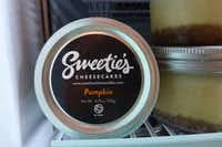Sweetie's single-serve-in-a-jar cheesecakes made in Fort Worth include holiday pumpkin.(Kim Pierce/Special Contributor)