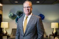 Jim Hinton, the CEO of Baylor Scott a& White Health, poses for a portrait in the lobby of their Dallas corporate offices in 2017. (Ashley Landis/The Dallas Morning News)(Ashley Landis/Staff Photographer)