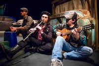 Robert Moreno (from left), Adrian Godinez and Armando Monsivais performed in <i>The Automobile Graveyard</i>, presented by Teatro Dallas last spring. The theater company is one of seven core groups at the Latino Cultural Center, though it stages shows at other venues as well.(Renato Rimach/Special Contributor)