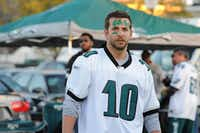 Bradley Cooper, dressed as an Eagles fan, in a scene from the movie <i>Silver Linings Playbook</i>.(JoJo Whilden/The Associated Press)