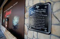 A sign memorializing the world's first frozen margarita at Mariano's Hacienda in Dallas (Brian Elledge/Staff Photographer)
