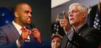 Colin Allred (left) speaks to supporters during an election night party at Ozona Grill and Bar in Dallas on May 22. Allred is running for the 32nd Congressional District. At right, Rep. Pete Sessions speaks at a campaign kickoff event at The Highland Dallas hotel in Dallas on June 23.(Andy Jacobsohn/Staff Photographer)