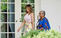First lady Melania Trump welcomes Kenya's first lady Margaret Kenyatta to the White House on Aug. 27, 2018 in Washington, D.C. (Olivier Douliery/TNS)