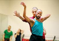 Chadi El-Khoury (front right) and Eric Lobenberg of Dark Circles Contemporary Dance rehearse <i>Aladdin, Habibi</i>.(Tom Fox/Staff Photographer)