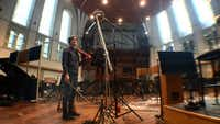 Dallas native composer Daniel Hart in 2016, recording his score for <i>Pete's Dragon</i> at AIR studios in London. The film was directed by Dallas' David Lowery. Hart teamed with Lowery again to score 2018's <i>The Old Man & the Gun</i>, starring Robert Redford.(Rachel Ballard/Rachel Ballard)