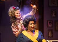 Annelle Dupuy-Desoto (Ana Hagedorn) puts hairspray on Truvy Jones (Liz Mikel).(Carly Geraci/Staff Photographer)