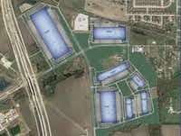 """<p>Seven warehouse buildings are planned in the<span style=""""font-size: 1em; background-color: transparent;"""">Park 360 South in Mansfield.</span></p>(Transwestern)"""