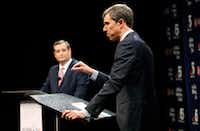 <p>Republican U.S. Sen. Ted Cruz (left) and Democratic U.S. Rep. Beto O'Rourke held their first debate Sept. 21, 2018, in the race for the U.S. Senate.</p>(Tom Fox/Staff Photographer)