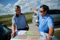 Northstar developers Kim Gill (right) and Tim Fleet look over plans for another development, the 732-acre Morningstar project  near Aledo in Tarrant County.(Tom Fox/Staff Photographer)