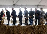 Community leaders and project VIPs break ground during an event at the new Collin College Technical Campus construction site in Allen.(Jason Janik/Special Contributor)