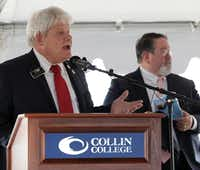 Allen Mayor Steve Terrell speaks during a groundbreaking event at the new Collin College Technical Campus construction site in Allen.(Jason Janik/Special Contributor)