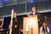 Left, new head of school at Episcopal School of Dallas David L. Baad and Dallas Mayor Mike Rawlings at Baad's installation ceremony. Courtes of ESD.