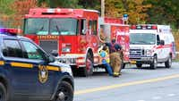Emergency personnel respond to the scene of a deadly crash involving a limousine in Schoharie, N.Y. (WTEN via AP)(AP)