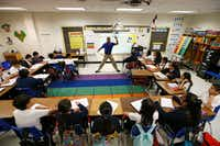 Josue Tamarez Torres teaches his fifth grade bilingual class at Annie Webb Blanton Elementary in Dallas on May 17, 2018. Blanton Elementary is one of Dallas ISD's ACE schools where extra money and resources have been poured in to bolster struggling campuses.(Nathan Hunsinger/Staff Photographer)