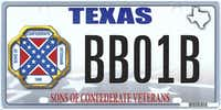 An undated handout photo of a proposed design of the novelty plate showing the Confederate flag, that Texas rejected. The Supreme Court ruled on Thursday, June 18, 2015, that Texas did not violate the First Amendment when it refused to allow specialty license plates bearing the Confederate battle flag. (TEXAS DEPARTMENT OF MOTOR VEHICLES)