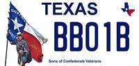 Proposed Texas Sons of Confederate Veterans Texas motor vehicle license plate.(Texas DMV)