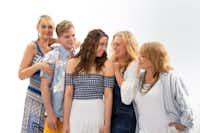 <p>Cara Statham Serber, Matt Homes, Morgan Maxey, Patty Breckenridge and Sara Shelby-Martin in Brick Road's&nbsp;<i>Mamma Mia!</i>&nbsp;</p>(Jason Anderson/Pendleton Photography)