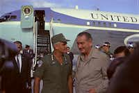 "<p><span style=""font-size: 1em; background-color: transparent;"">President Lyndon B. Johnson speaks with Gen. William Westmoreland during a visit to Cam Ranh Bay in South Vietnam on Dec. 23, 1967.</span></p>(Yoichi Okamoto/The New York Times)"