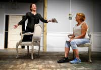 Shannon McGrann, who plays Nora Helmer, rehearses with Judy Keith, who plays Anne Marie, in <i>A Doll's House, Part 2</i>&nbsp;at Stage West Theatre in Fort Worth.(Tom Fox/Staff Photographer)