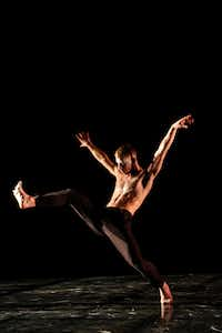 <p>Stephen Petronio Company member Nicholas Sciscione performs an excerpt from Steve Paxton's improvised 1986 work <i>Goldberg Variations</i>. (Photo by .Julie Lemberger)</p>