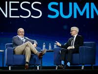 John Stankey, CEO of WarnerMedia, (left) was interviewed by Anderson Cooper on Sept. 27 during the AT&T Business Summit at the Gaylord Texan Resort & Convention Center in Grapevine.(Nathan Hunsinger/Staff Photographer)