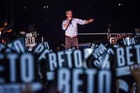 Rep. Beto O'Rourke spoke during a campaign rally with country singer Willie Nelson at Auditorium Shores in Austin on Sept. 29.(Drew Anthony Smith/Getty Images)