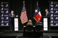 Republican U.S. Sen. Ted Cruz (left) and U.S. Rep. Beto O'Rourke, D-El Paso, shown in their first debate in Dallas last month, are inundating TV with ads asking for votes in the Nov. 6 election.(Tom Fox/Staff Photographer)
