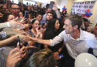 U.S. Rep. Beto O'Rourke, D-El Paso, shown stumping in Edinburg last month, has a lead in TV ad spending. But it's a bigger priority for his supporters to have one-on-one conversations with other voters, the Democratic candidate for U.S. Senate has continued to stress.(Joel Martinez/The Monitor)