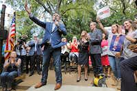 Sen.Ted Cruz campaigned at the Katy Trail Ice House Outpost in Plano on Oct. 4.(Louis DeLuca/Staff Photographer)