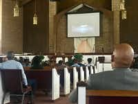 Approximately 60 people gathered at Community Missionary Baptist Church in DeSoto on Tuesday to watch police dash camera footage..(Elvia Limon)