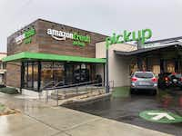 AmazonFresh usually delivers groceries, but in this experiment, drivers can come here and pick up their online orders.(Dave Lieber/Staff photo)