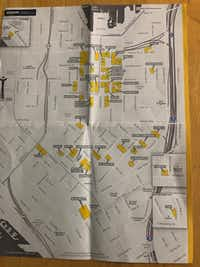 Amazon gets so many tourists in Seattle that it created an audio walking tour using this map. The buildings in orange are Amazon's.(Dave Lieber/Staff)