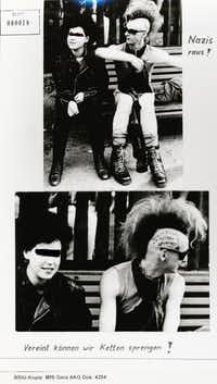"""<p><span style=""""font-size: 1em;""""><i>Burning Down the Haus</i> describes the&nbsp;&nbsp;</span><span style=""""font-size: 1em;""""></span><span style=""""font-size: 1em;"""">high stakes and consequences faced by East German punk rockers, shown here in a&nbsp;</span><span style=""""font-size: 1em;"""">Stasi surveillance photo</span></p>(Substitut Archive/Algonquin Books)"""