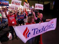 Collin County delegates Melissa and Richard Spence show their support for Sen. Ted Cruz as he speaks during the May, 2016 Texas Republican Convention at the Kay Bailey Hutchison Convention Center in Dallas. (Vernon Bryant/Staff Photographer)<div><br></div>