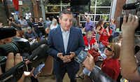 Sen.Ted Cruz does an interview before speaking to the crowd as he campaigns at the Katy Trail Ice House Outpost in Plano, Texas, photographed on Thursday, October 4, 2018. (Louis DeLuca/The Dallas Morning News)(Louis DeLuca/Staff Photographer)